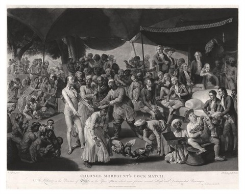 colonel mordaunts cock match engraved by richard earlom by johann joseph zoffany