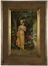 woman in yellow dress and hat by hans zatzka