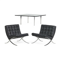 pair of barcelona chairs and table (3 works) by ludwig mies van der rohe