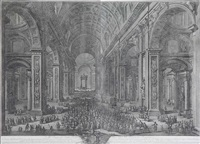 l'intérieur de la basilique saint-pierre à rome (on 2 sheets) by giuseppe vasi