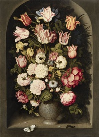 vase of flowers in a stone niche by osias beert the elder