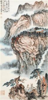 千山秋雨 镜片 设色纸本 by zhang daqian