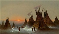 indian encampment by jules tavernier