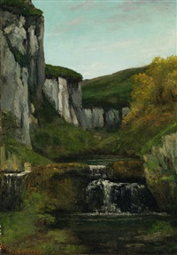 paysage, roches et cascade by gustave courbet