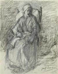 woman sitting in armchair by jozef israëls