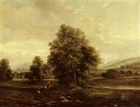 an extensive landscape with figures by a stream in the foreground by h.b. humphrys