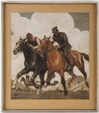 a l'entraînement, chevaux de course by edouard elzingre