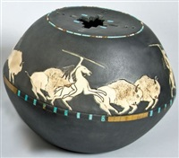 buffalo hunt pot by randall blaze