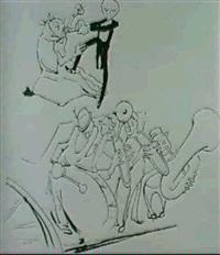 esquisse pour les illustrations du livre de         marinetti les deux s'en vont by valeri