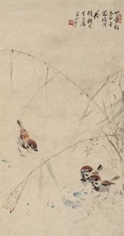 苇塘雀噪图 立轴 纸本 by guan shanyue