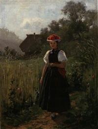 junge gutacherin nahe schwarzwald-bauernhof by wilhelm g. hasemann