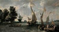 flussansicht mit booten, einem anleger und figuren by andries van eertvelt