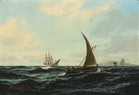 seascape with sailing ships by emile valentin