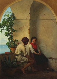 a young italian couple in a loggia by the sea by anton laurids johannes dorph