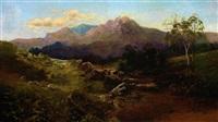 schottische landschaft mit flusslauf, angler und berghintergrund by c. austin