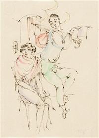 artistenpaar vor einem zirkuswagen by richard ziegler