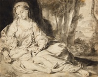 seated virgin with child in a landscape by sir anthony van dyck