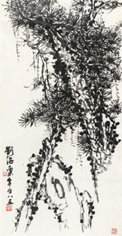古松图 镜心 纸本 by liu haisu