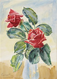 stilleben mit zwei rosen in einer glasvase by daniel wohlgemuth