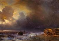 wolkenverhangener himmel über einer strandszene by baron jean antoine théodore gudin