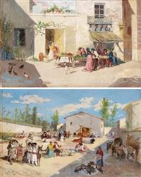 gegenstücke mercado de valencia und pareja, place de ariella (pair) by manuel picolo y lopez
