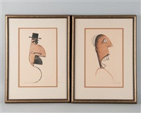 caricature silhouettes of gentlemen (2 works) by charles smith