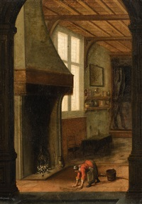 interior scene with a woman cleaning by jacobus vrel