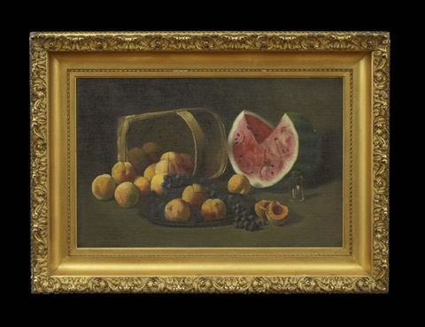 still life with peaches, grapes and watermelon by paul cornoyer