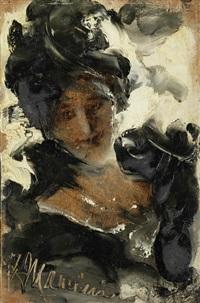 porträt einer dame by antonio mancini