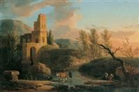 landschaft mit burgruine by johann-heinrich wüst