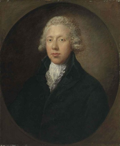 portrait of a gentleman traditionally identified as samuel kilderbee in a black coat and white lace collar by gainsborough dupont
