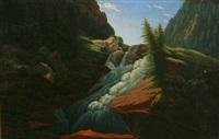 fertile norwegian landscape with a waterfall by carl anton saabye