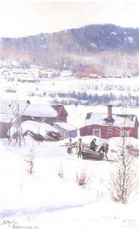 soligt vinterlandskap med gård by gustaf albert