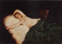 liegender weiblicher halbakt by rudolf wimmer