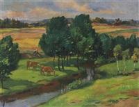 weite landschaft mit bäuerin und zwei kühen bei einem bachlauf by daniel wohlgemuth