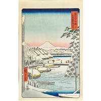 five woodblock prints from the series thirty-six views of mount fuji by ando hiroshige