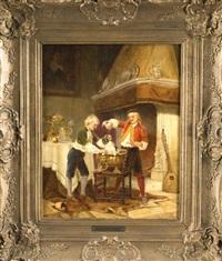 prunkvolles interieur mit großem kamin, zwei jungen begießen einen hund mit wein by karl josef litschauer