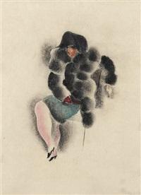 sitzende dame im pelz by richard ziegler