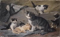 katzenfamilie by julius adam (unattributable)