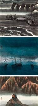孤舟 夜 长城 镜心 纸本 (3 works) by bo yun