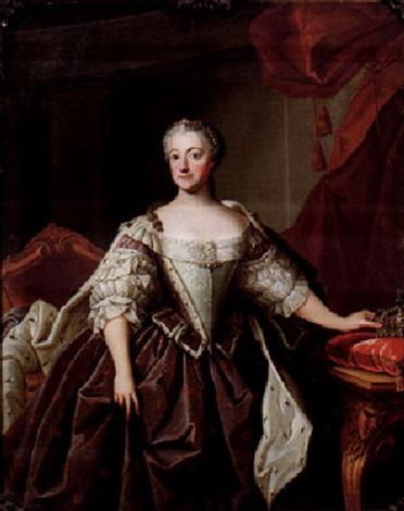 porträtt av drottning lovisa ulrika stående knästycke i interiör by olof arenius