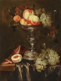 still life with fruits in a tazza by abraham van beyeren