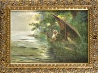 auf der jagd am seeufer by hans thoma