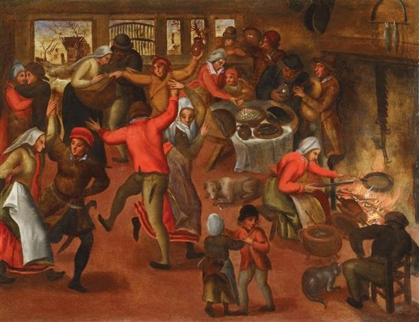 bauernfest in einer stube by pieter brueghel the younger