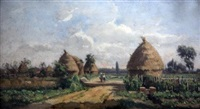 landscape with figures beside haystacks by adrien jacques sauzay