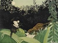la chasse au tigre (by jacques villon) by henri rousseau