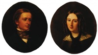 portrait of percy ellen frederick william smythe and portrait of the hon. philippa eliza sidney smythe (pair) by william charles fisher