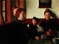 almueinterior med ung pige, der får serveret kaffe by christian (jens c.) thorrestrup