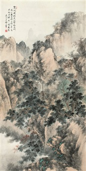 泉闻深树里 (landscape) by qi dakui