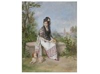 retrato de joven, posiblemente mª cristina de orleans by manuel cabral aguado bejarano